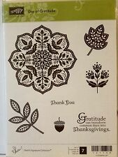 Stampin Up DAY OF GRATITUDE clear mount stamps fall medallion leaves Thanks