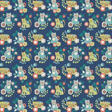 CRAFT/PATCHWORK FABRIC LEWIS & IRENE CONTENTED CAT MITZI (BLUE)