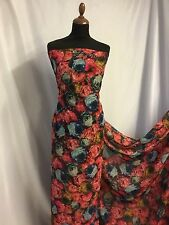 NEW Designer multicolour Chiffon Roses Floral Print Fabric Dress Serong Blouse