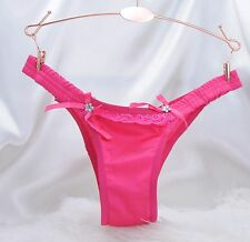 Shiny Stretch Satin Booty Brazilian Cut sissy string bikini panties M - XL
