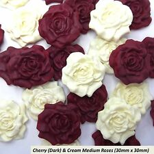 12 Red Maroon Burgundy Cream Sugar Roses edible ruby wedding cake decorations