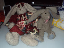 Pair Stuffed Bunnies Krystal Suzanne Limited Edition No. 309 Bunnies By The Bay