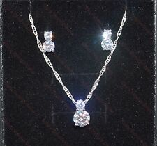 Lovely 925 Sterling Silver Plated  AAA Cubic Zirconia Earrings & Necklace Set