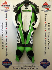 "Ixon Galactica One Piece Motorcycle Road Race Leathers UK XL 44"" Chest Green"