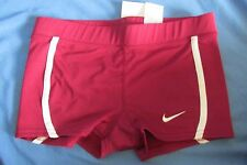 New Women's Nike Team Fit Dry Boycut Shorts Cardinal Maroon & White XXS (0)