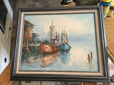 Vintage Estate Original Oil Painting Palette Knife Fishing Boats At Port Signed