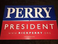 Rick Perry Governor Texas Official 2012 President Campaign Sign Placard 2016