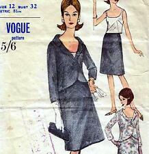 "Vintage 60s SUIT Blouse JACKET Skirt Sewing Pattern Bust 32"" Sz 8 RETRO Evening"