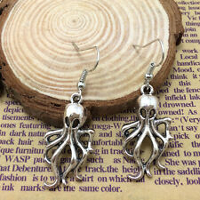 Free shipping Ancient silver jewelry Underwater World, silver octopus earring /