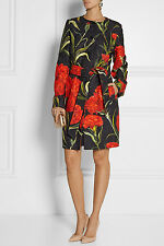 DOLCE & GABBANA Carnation-Brocade Single-Breasted Coat BNWT UK 12 US 10 IT 44