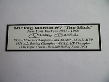 Mickey Mantle Autograph Nameplate New York Yankees Photo Bat Hat Jersey