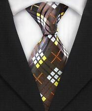 GORGEOUS TIE!! Mens Classic Textured Grid Check Silk Necktie Tie Brown White