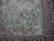 vintage antique tapestry style throw or table cover with hand woven Fringe