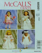 "McCall's 6981 PATTERN for 18"" American Girl DOLL CLOTHES Wedding Dress Ballet"