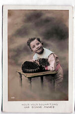 Vintage 1912 Real Photo Coloured French cat w/ boy postcard HAPPY NEW YEAR! RPPC