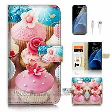 Samsung Galaxy S7 Flip Wallet Case Cover P1360 Flower Cup Cake