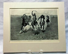 """1889 Print Frederic Remington """"Indian Horse Race-Coming Over the Scratch"""" Matted"""