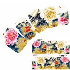 Tattoo Nail Art Aufkleber Japan Flower Blumen Glitzer Nagel Sticker Neu!