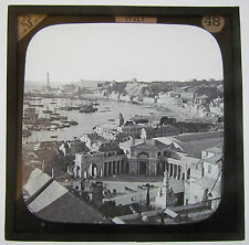 Magic lantern slide GENOA ITALY RAILWAY STATION HARBOUR AND SHIPS  C 1900