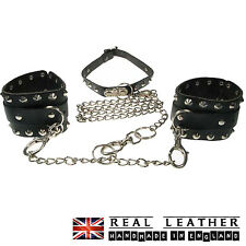 Black Conical Ring Chain Studded Handmade 100% Real Leather Handcuff Made In UK