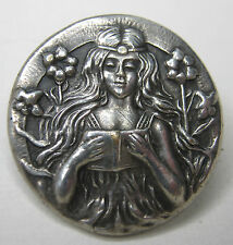 Silver Pin Art Nouveau Girl Reading Book Flowing Hair Flowers  Vintage Small