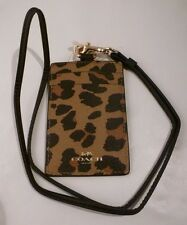 NWT COACH LEOPARD PRINT COATED CANVAS Lanyard Badge ID Holder Case 66473