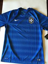 Authentic Nike Dri Fit CBF Brazil National Soccer Team Jersey Size L  2014 Blue