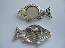 5 Antique Silver Fish Shaped Brooch Pin Tray Blanks 20mm Round Cabochon Setting