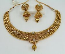 Indian Traditional Wedding Bridal Choker Necklace Set Earring Jewelry