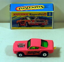 DTE MATCHBOX SUPERFAST 8 WILDCAT DRAGSTER HOT PINK WITH BLACK BASE NIOB
