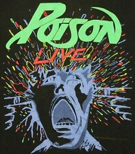 L * thin vtg 80s 1988 POISON open up and say ahh tour t shirt * 38.154