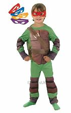 Boy Teenage Mutant Ninja Turtle Fancy Dress Costume Deluxe Outfit 4 Mask Age 7-8
