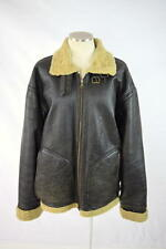 WILSONS Reversible Brown Leather & Faux Shearling Bomber Aviator Flight Jacket L