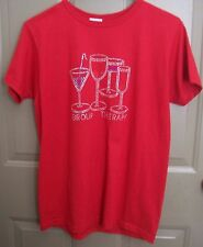 """JERZEES Red Fun Wine/Cocktail Beaded Bling """"Group Therapy"""" Tee Short Sleeve M"""