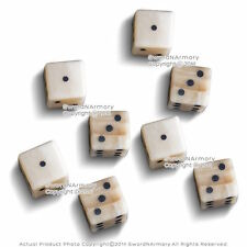 8 Pcs Genuine Cow Bone Gambling Handmade Roman Dice Inlaid Pips Casino Game
