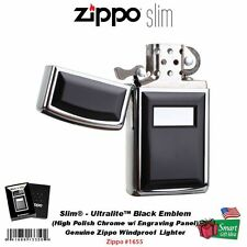 Zippo Slim Ultralite™ Black Emblem Lighter, Genuine USA Windproof Slim #1655