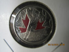 "25 CENT COLORIZED ""MEN HOCKEY ENGRAVED 2  COIN  2009 CANADA COIN  VARIES  BU"