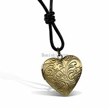 Gold Tone Floral Carved Heart Photo Locket Valentine Pendant Necklace for Lover