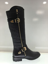 LADIES WOMENS KNEE HIGH BLACK LEATHER STYLE LOW HEEL BOOTS SHOES SIZE 6