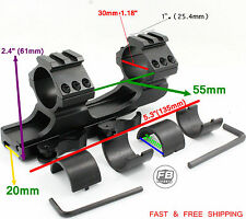 """Quick Release Scope Mount 1"""" 25mm/30mm Dual Ring Cantilever Heavy Duty Rail 20mm"""