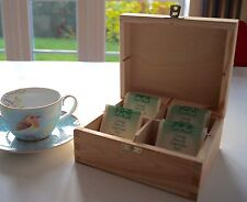 Wooden Tea Box Chest with 4 Compartments Mothers Day Gift
