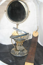 Victorian silver plate shaving mirror stand w/soap dish plus extras!