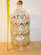 Rare Vintage TRIPLE-STACK Glass Apothecary Jar +Lid, Gold & Turquoise Arches MCM