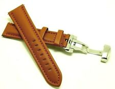 20mm Brown Leather Watch Band With Push Button Deployant Deployment Clasp