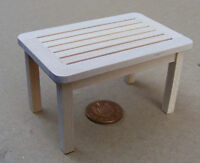 1:12 Natural Finish Wooden Patio Table Dolls House Miniature Garden Accessory