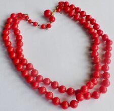 collier bijou vintage avec perle fantaisie rouge sur 2 rangs * 2180