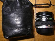 OLYMPUS ZUIKO Auto W 28mm f2.8 WIDE ANGLE LENS in SOFT CASE.