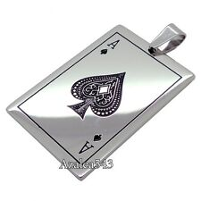 Ace of Spades Poker Stainless Steel Tag Pendants & Necklaces Free Shipping