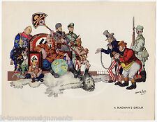 Madman's Dream Uncle Sam vs Axis Powers Vintage WWII Political Cartoon Art Print
