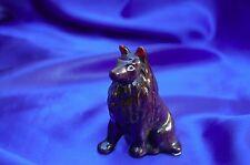 Vintage Porcelain Chocolate Brown Collie dog herding dog red ears herding dog